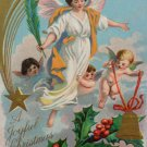 Antique Christmas Postcard Angel With Pink Wings Embossed Unposted Embossed
