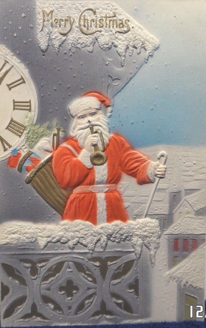 Antique Christmas Postcard Santa Claus Standing by Clock Blowing Horn Germany