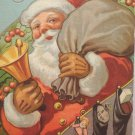 Antique 1910 Christmas Postcard Santa Claus Has Bag of Toys Ringing Bell