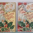 Antique Christmas Postcards Santa Claus Smoking His Pipe Watch Kids Open Gifts