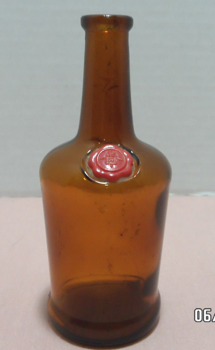 Antique Bottle Miniature Brown Glass Anchor Hocking Symbol on the Bottom