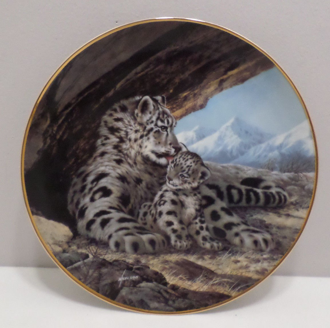 1989 Collector Plate The Snow Leopard by Will Nelson, Bradford Exchange