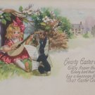Antique Easter Postcard Humanized Rabbit Posted Divided