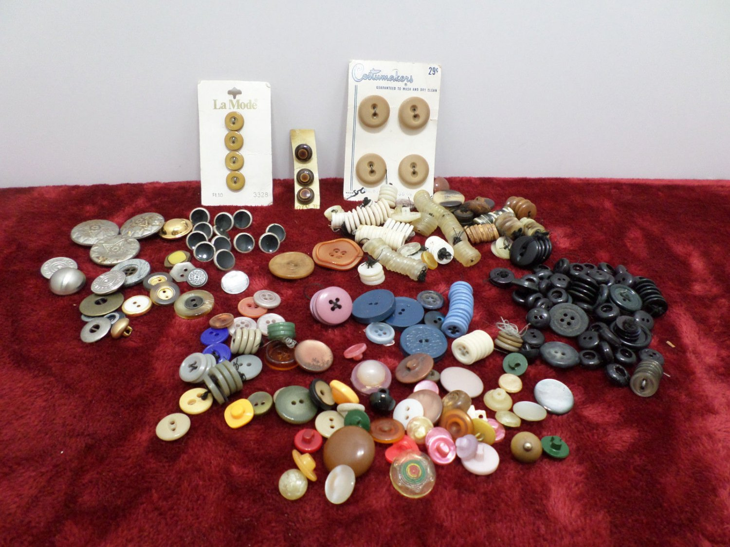 Sewing Buttons Metal and Plastic Mixed Lot Antique Vintage