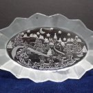 Christmas Serving Tray Clear Glass with Frosted Glass Sides Mikasa