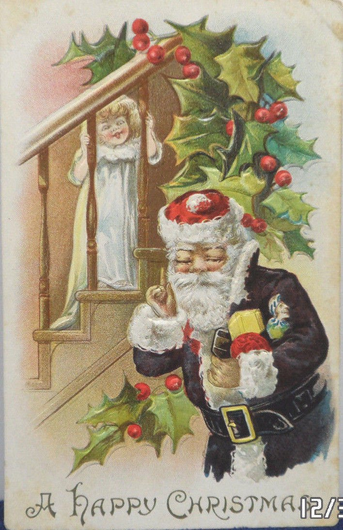 Antique Christmas Postcard  Santa Claus in Purple Embossed Divided Unposted