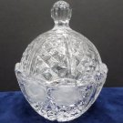 Crystal Candy Dish with Lid Has a Frosted Flower Design