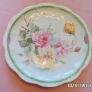 Collector Plate White with Pink and Yellow Roses with Green Trim Porcelain