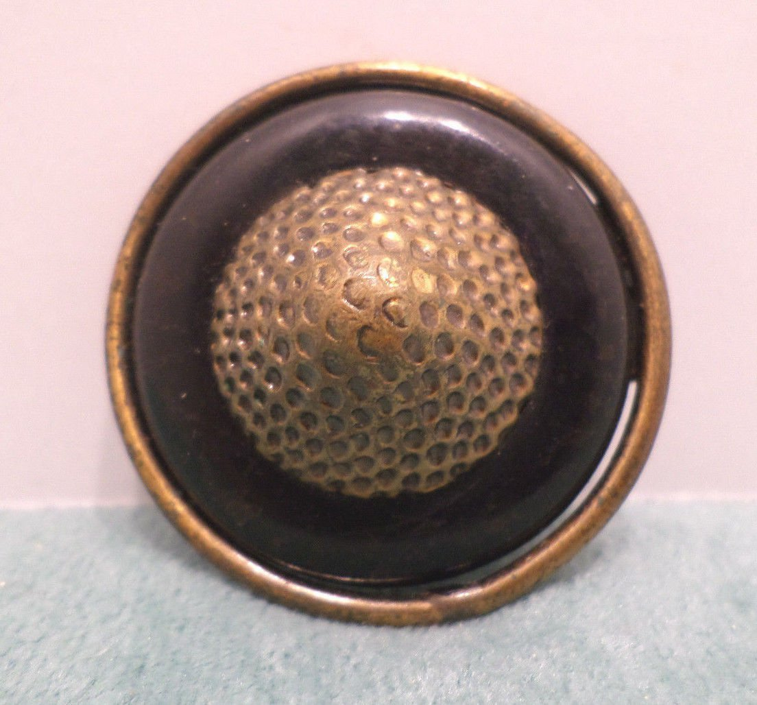 "Vintage Sewing Button Black Glass with Gold Tone Metal Center 1 3/4"" Diameter"