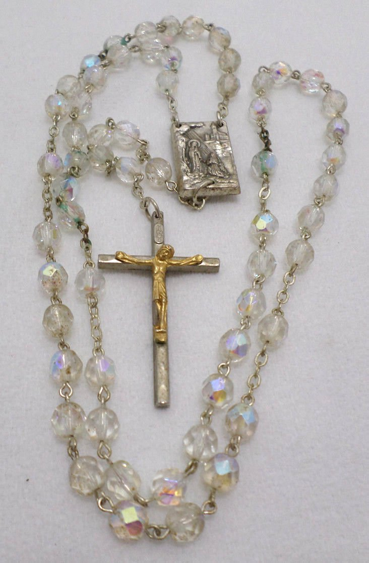 Antique Rosary Crucifix Relic SilverPlate with Iridescent Glass Beads Catholic