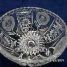 Vintage Clear Crystal Bowl with Frosted Flower Pattern