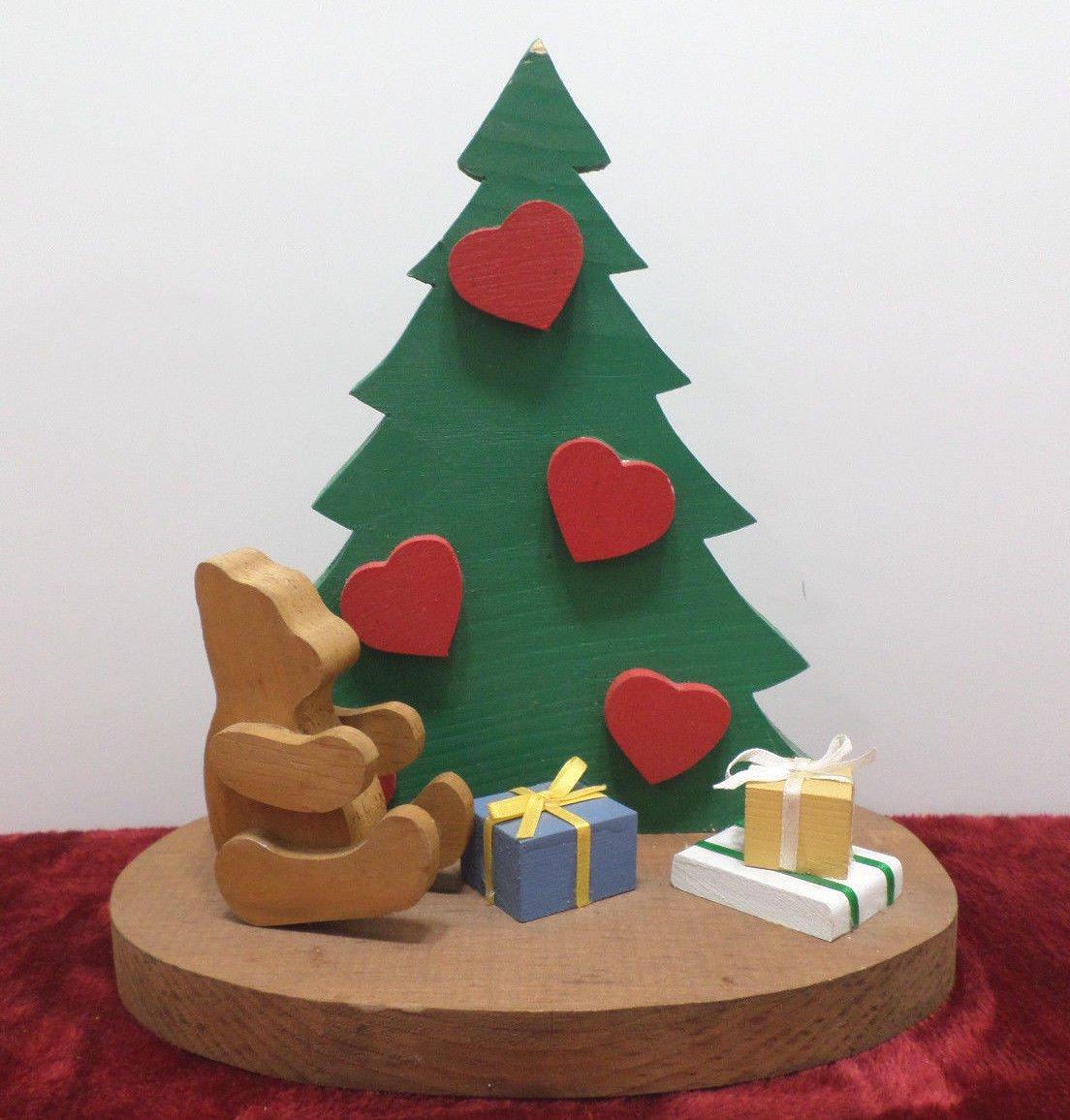 Wooden Christmas Figurine Christmas Tree Teddy Bear Gifts Decoration