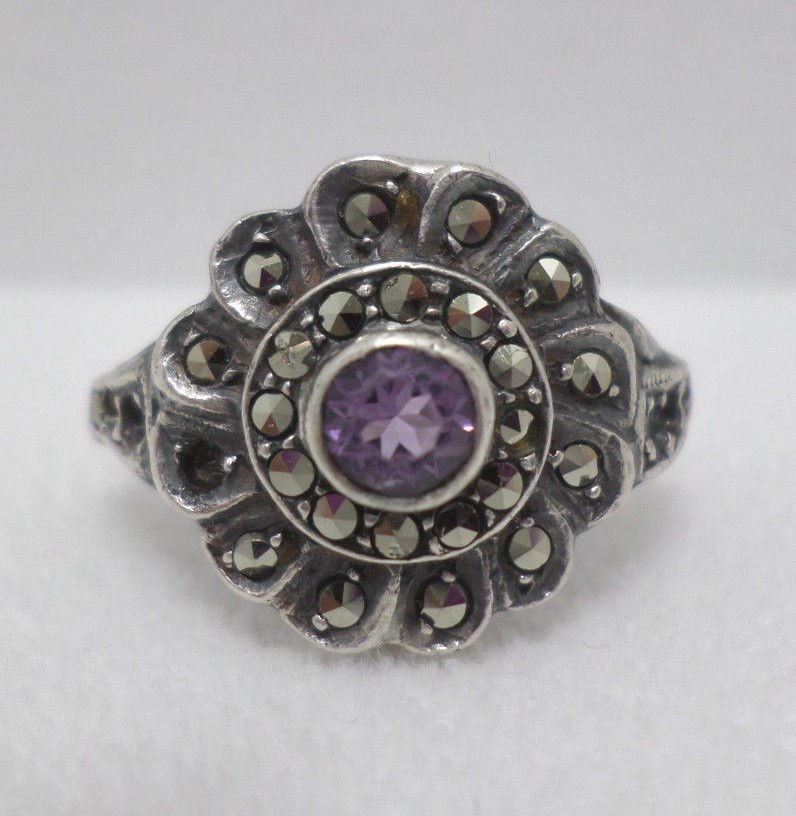 Antique Ring Sterling Silver .925 with Amethyst and Marcasites Size 8