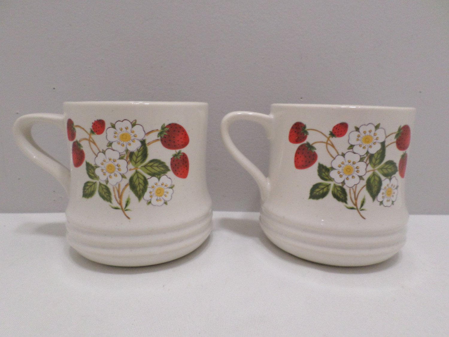Two Sheffield Coffee Cups Strawberries and Cream Pattern Stoneware Collection