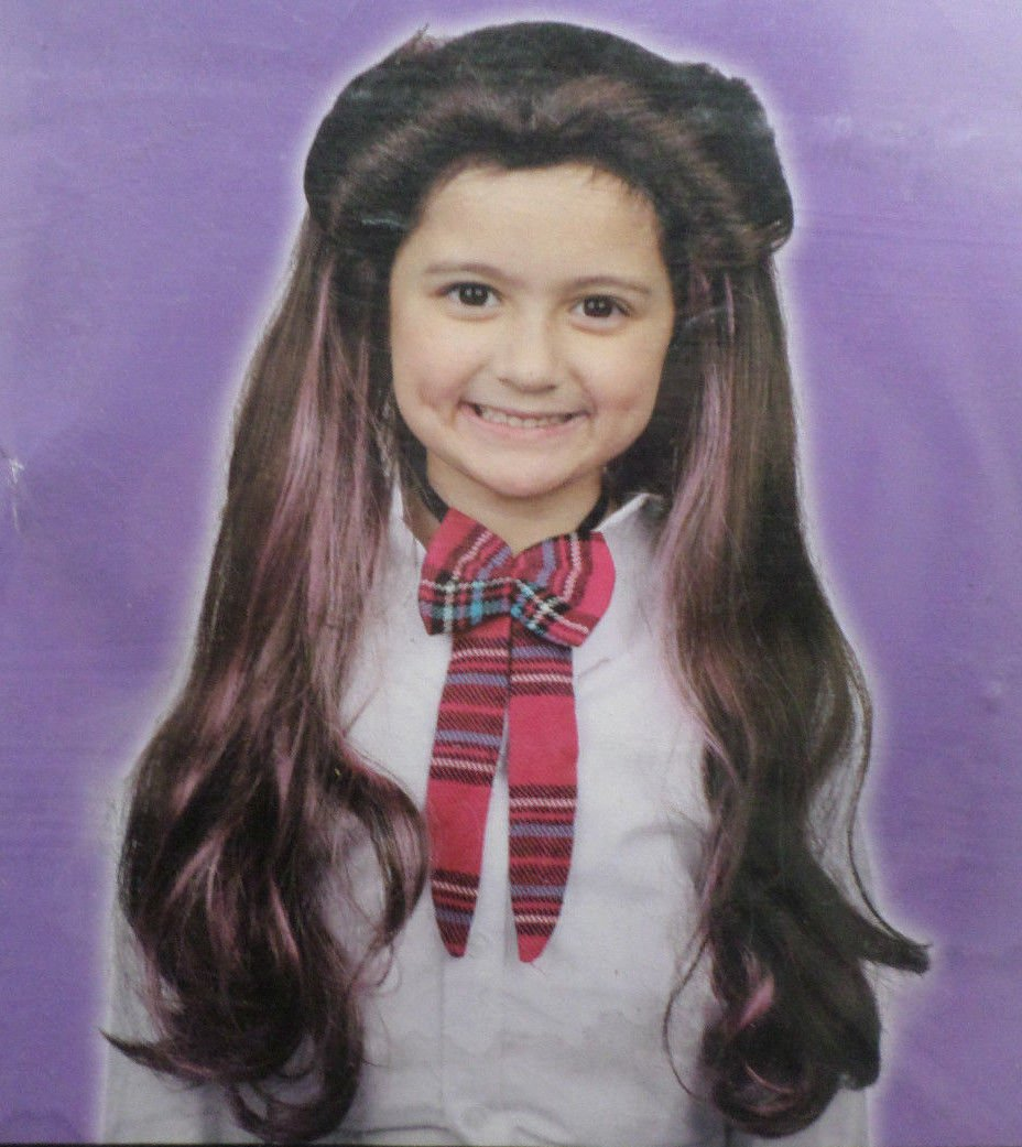 Halloween Costume Black And Purple Wig Kids One Size Fits Most