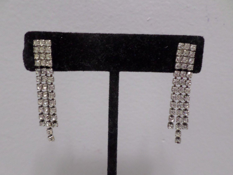 Pierced Earrings Silver Tone Metal with Rhinestones Costume Jewelry Vintage