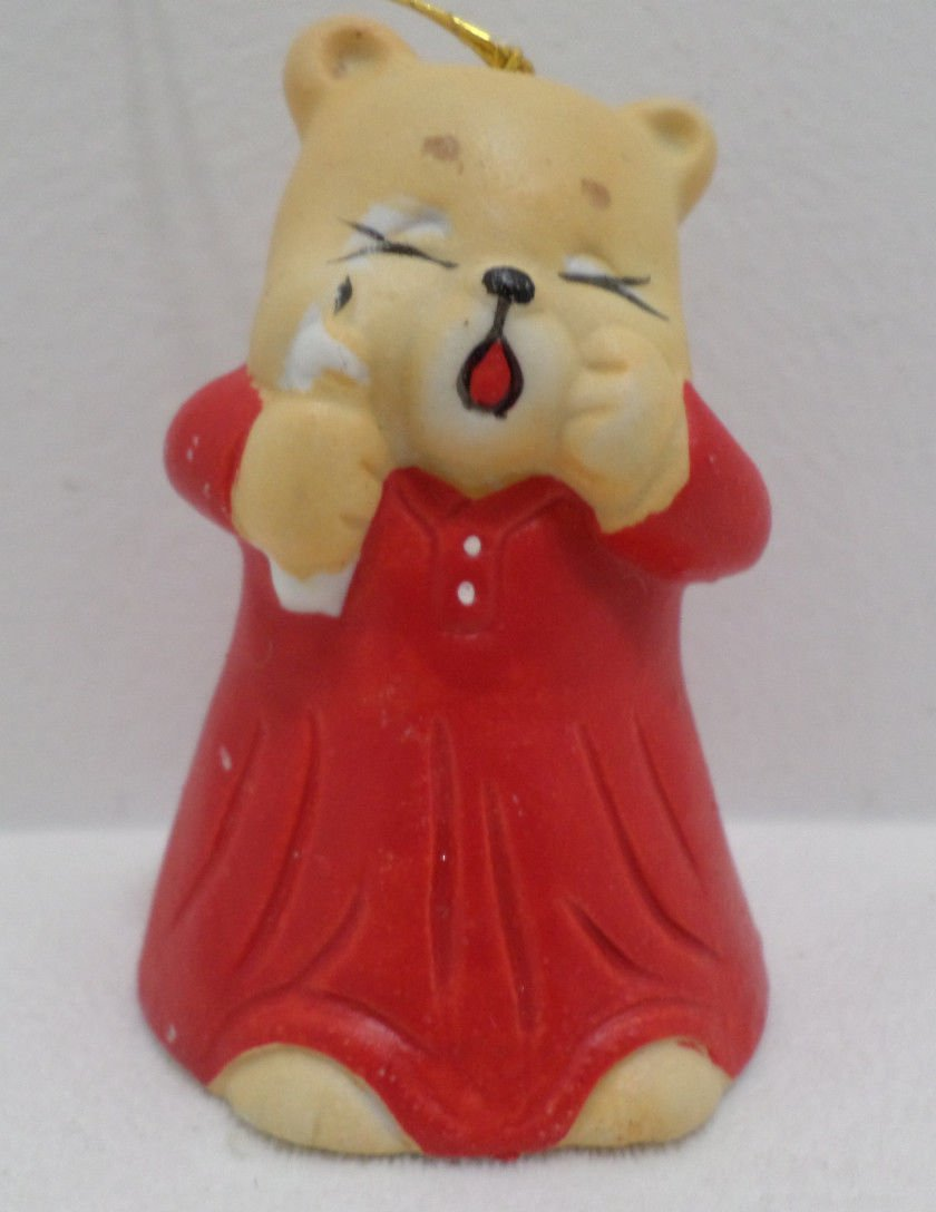 Christmas Tree Ornament Red Ceramic Bear Bell