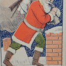 Antique Christmas Postcard Santa Claus Walking to Chimney with Toys Unposted
