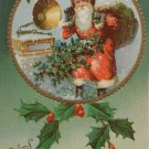 Antique Christmas Postcard Santa Claus with Phonograph Embossed Posted Germany