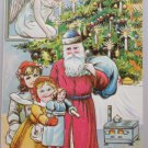 Antique Christmas Postcard Santa Claus Wearing Blue Hat with Blue Sack Angel
