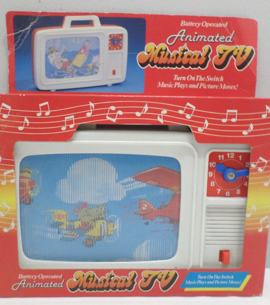 Animated Musial Television Battery Operated by T.T. Toys 1989
