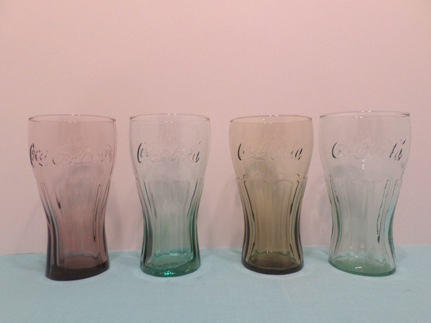 Coca Cola Drinking Glasses Purple Green Brown Set of 4
