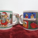 Collector Mugs Cup;s Stoneware Christmas Lot of  Two