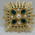 Vintage Brooch or Pin Gold Tone Metal with Faux Pearls Stones and Rhinestones