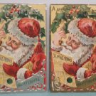 Antique Christmas Postcard Santa Claus Smoking Embossed Divided Posted Lot of 2