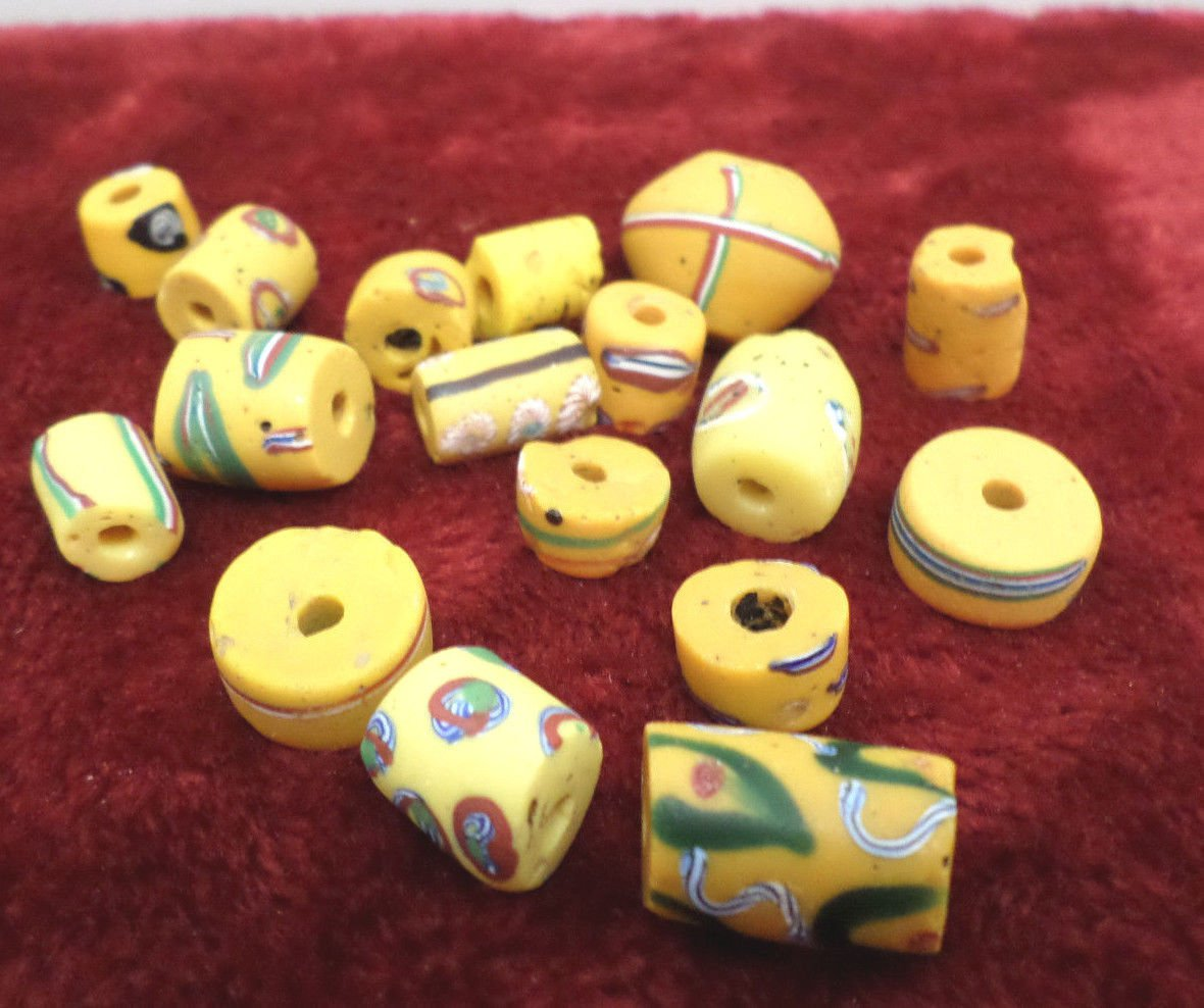 Antique African Trade Beads Yellow Powder Glass