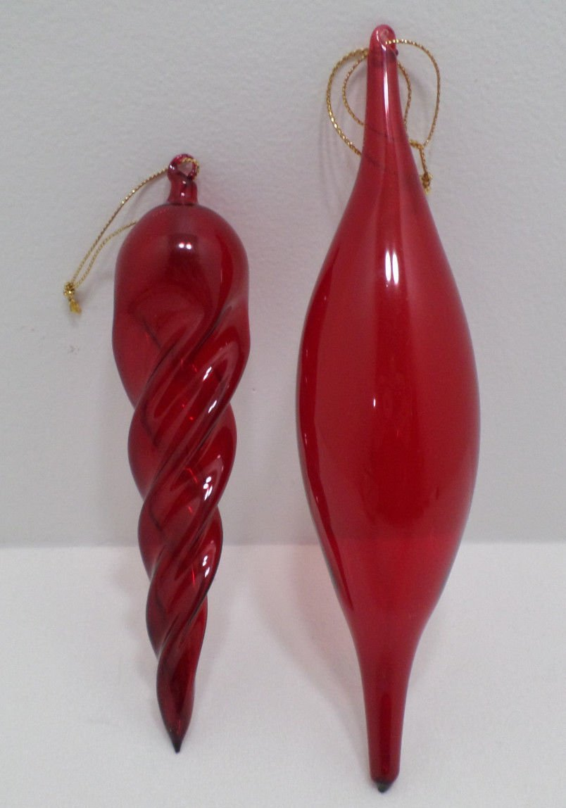 Christmas Tree Ornaments Red Glass Tear Drop and Icicle 2 pcs