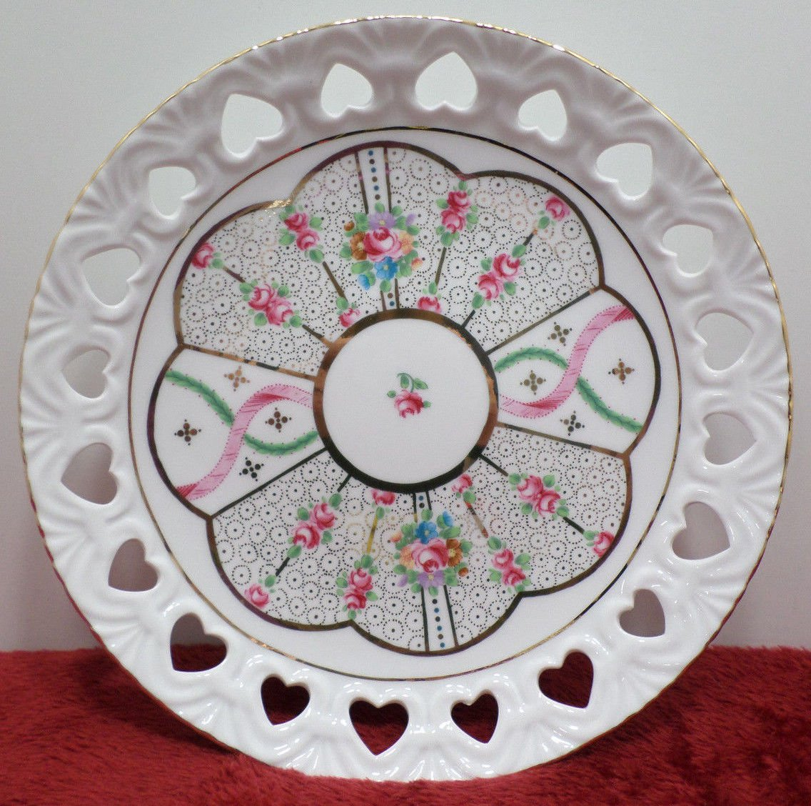 Collector Plate with Cut Out Hearts Around Rim Pink Floral Design