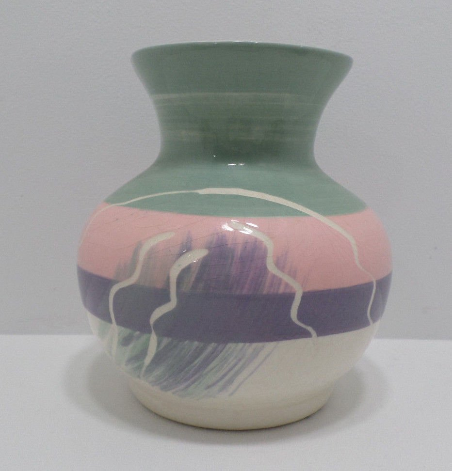 Flower Vase Pastel Colored Pottery with Makers Mark