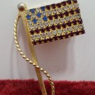 Womens Brooch United States Flag Gold Tone Metal with Red White Blue Rhinestones