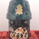 Christmas Candle Holder Lamp Porcelain Snowman Design in Original Box