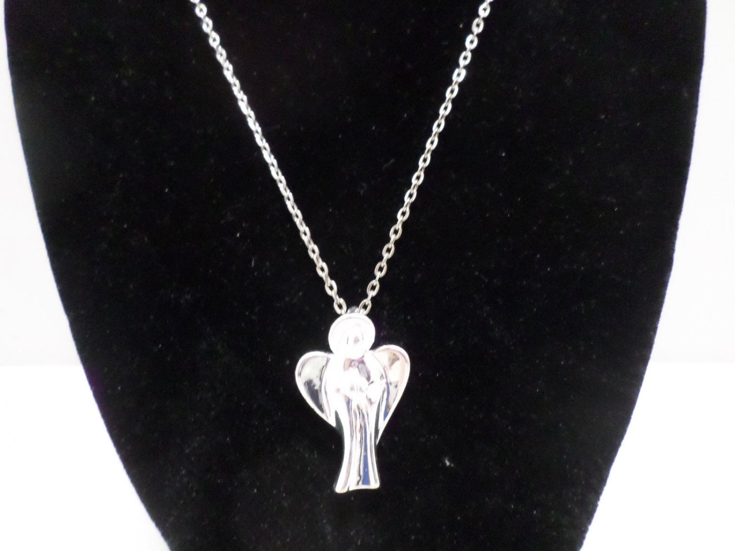 """Womens Necklace Silver Tone Metal Chain with a Silver Tone Angel Pendant  18"""""""