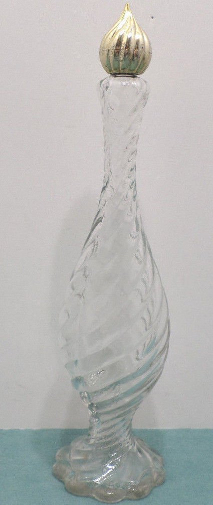 Perfume Bottle Clear Glass Swirl Design Gold Tone Lid