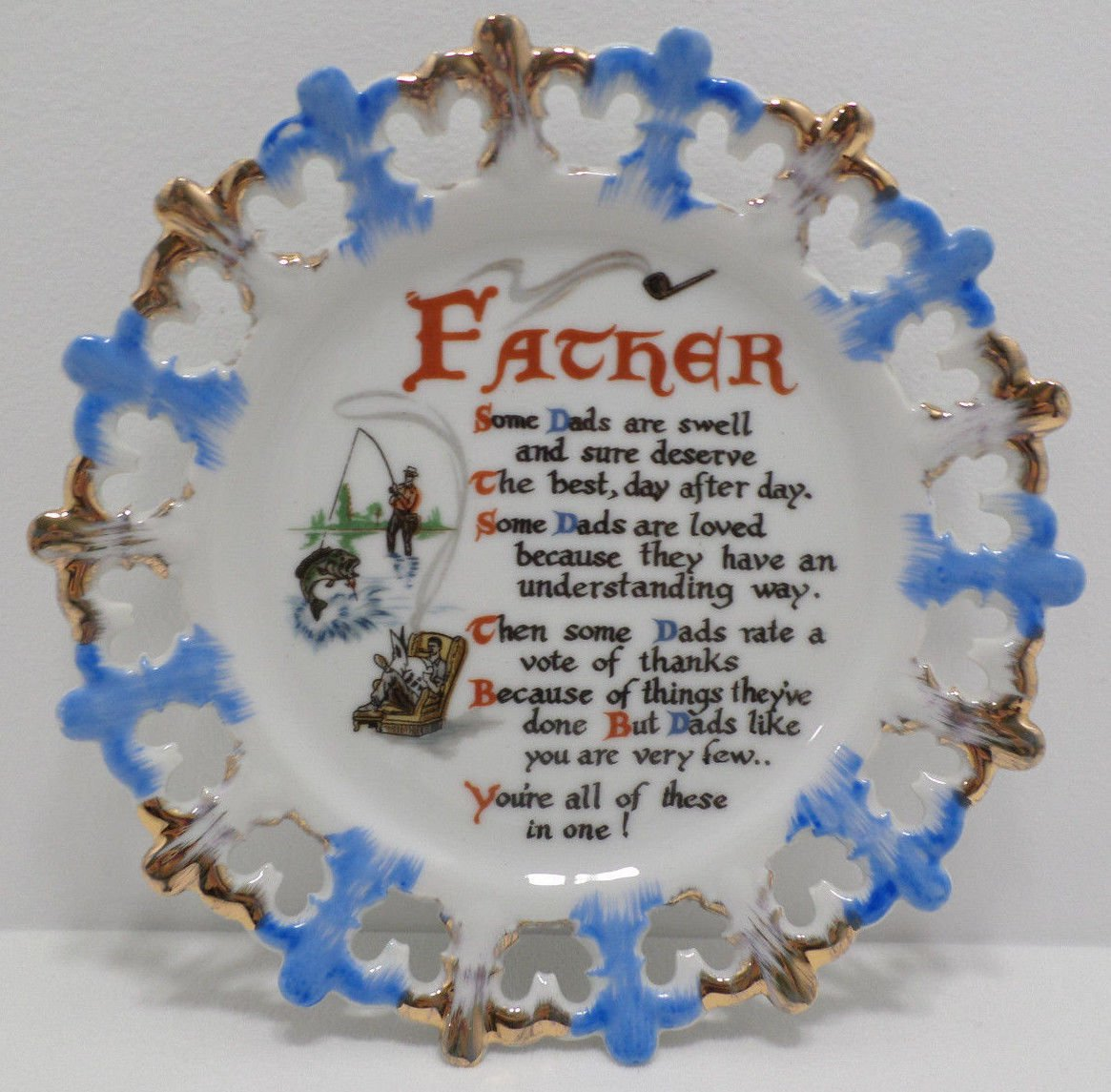 Collector Plate Father's Day Fisherman Fine China made in Japan