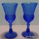 Avon Goblets George and Martha Washington Fostoria Blue Glass