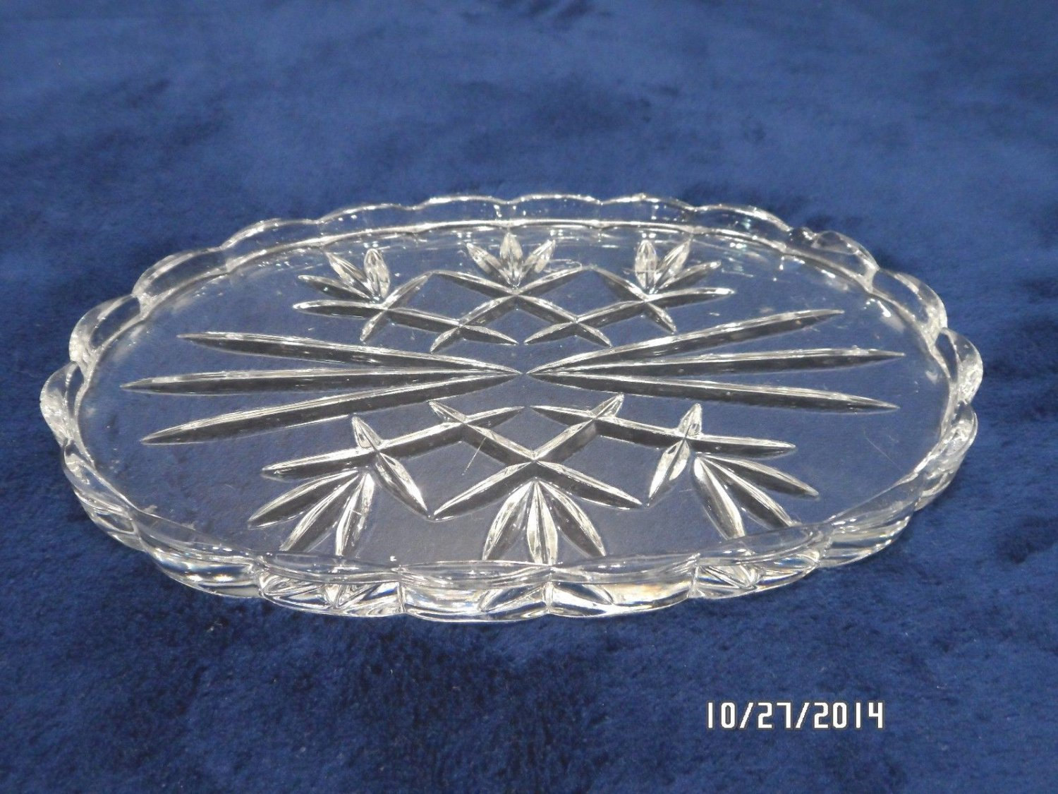 Vintage Vanity Tray Clear Crystal with Scalloped Edges