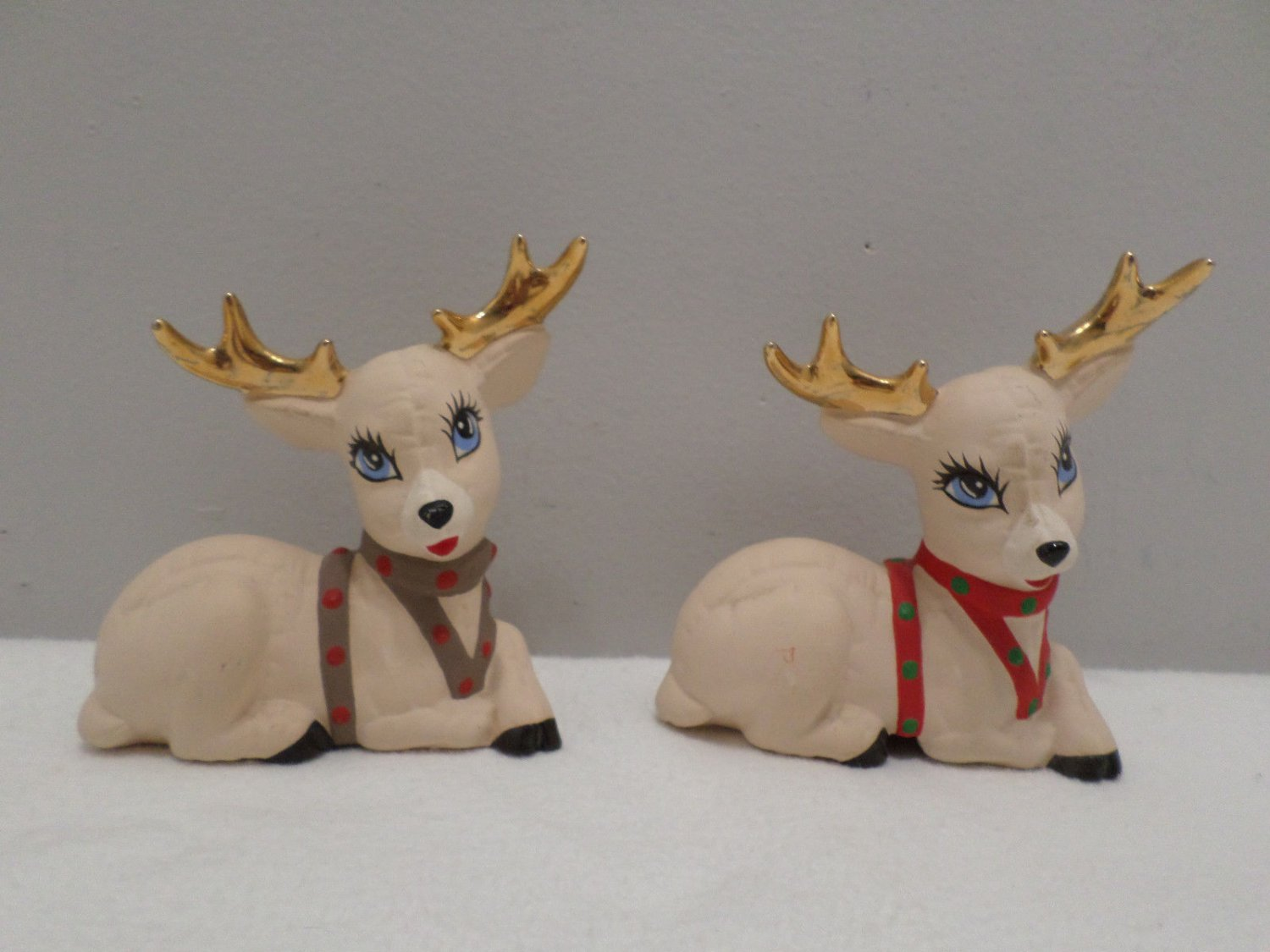 Christmas Figurines Reindeer with Gold Antlers Two Pcs