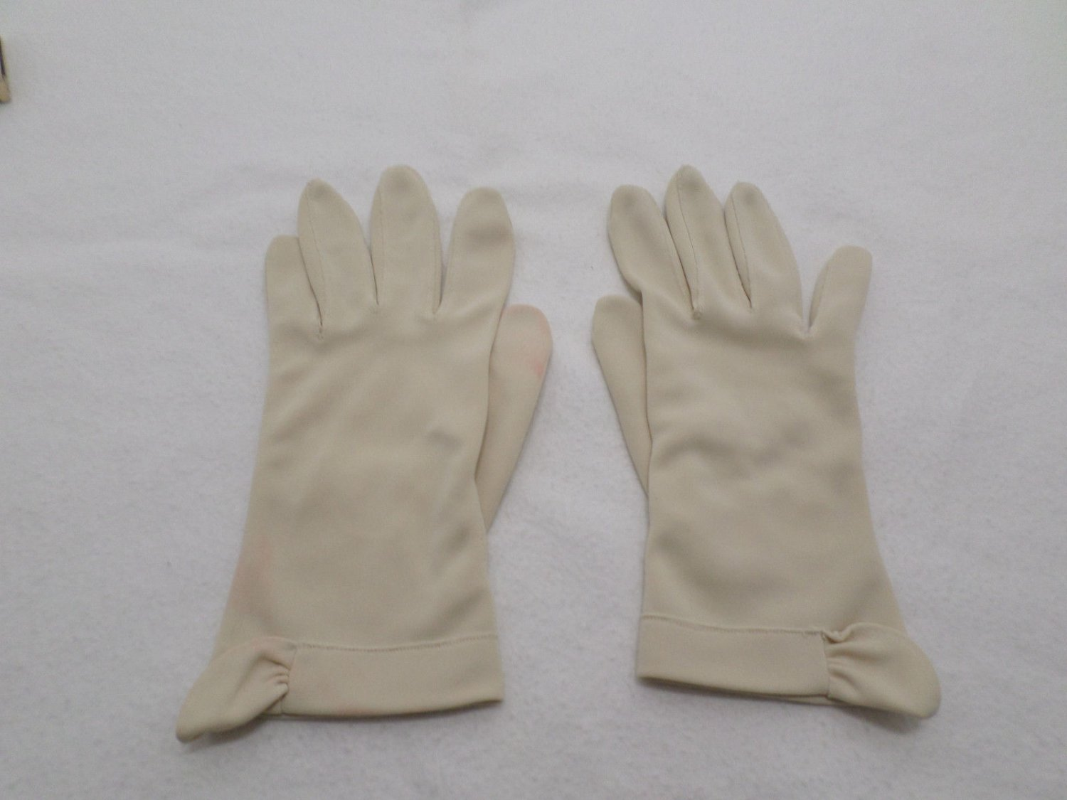 Womens Vintage Beige Gloves Wedding Prom Party Beige size Small