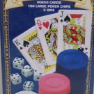 Collector Poker Cards Large Chips and five Dice Set in Metal Tin Box by Cardinal's