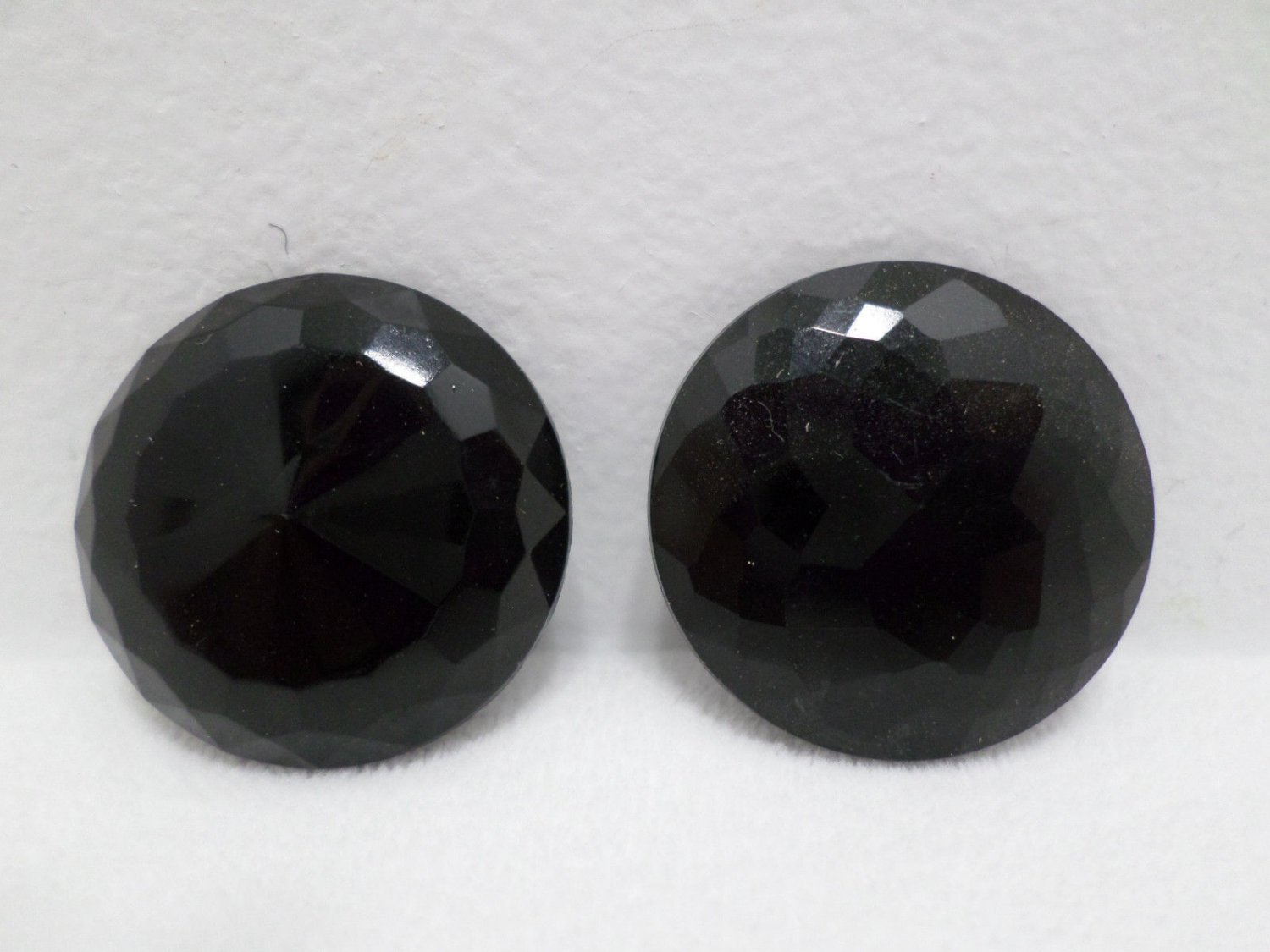 Sewing Buttons Round Faceted Black Glass Vintage