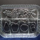 Divided Relish Tray Clear Glass Fruit Pattern