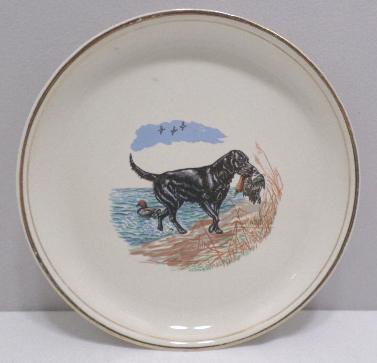 Collectors Plate Black Dog Catching Duck at Lake Ceramic
