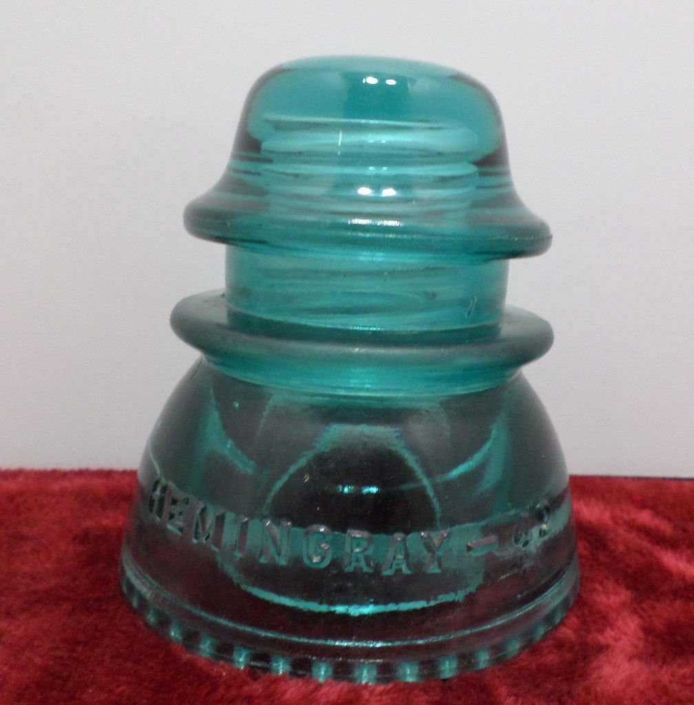Antique Hemingray-42 Insulator made in the USA Turquoise Glass