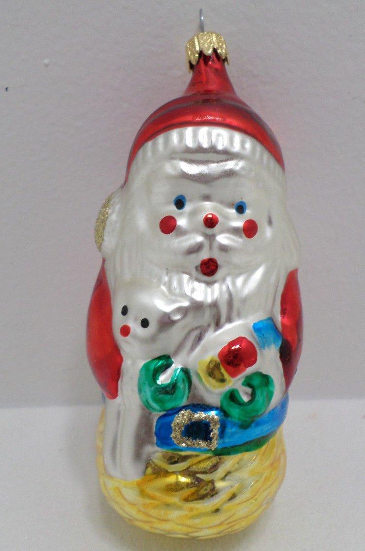 Antique Mercury Glass Christmas Tree Ornament Santa Claus