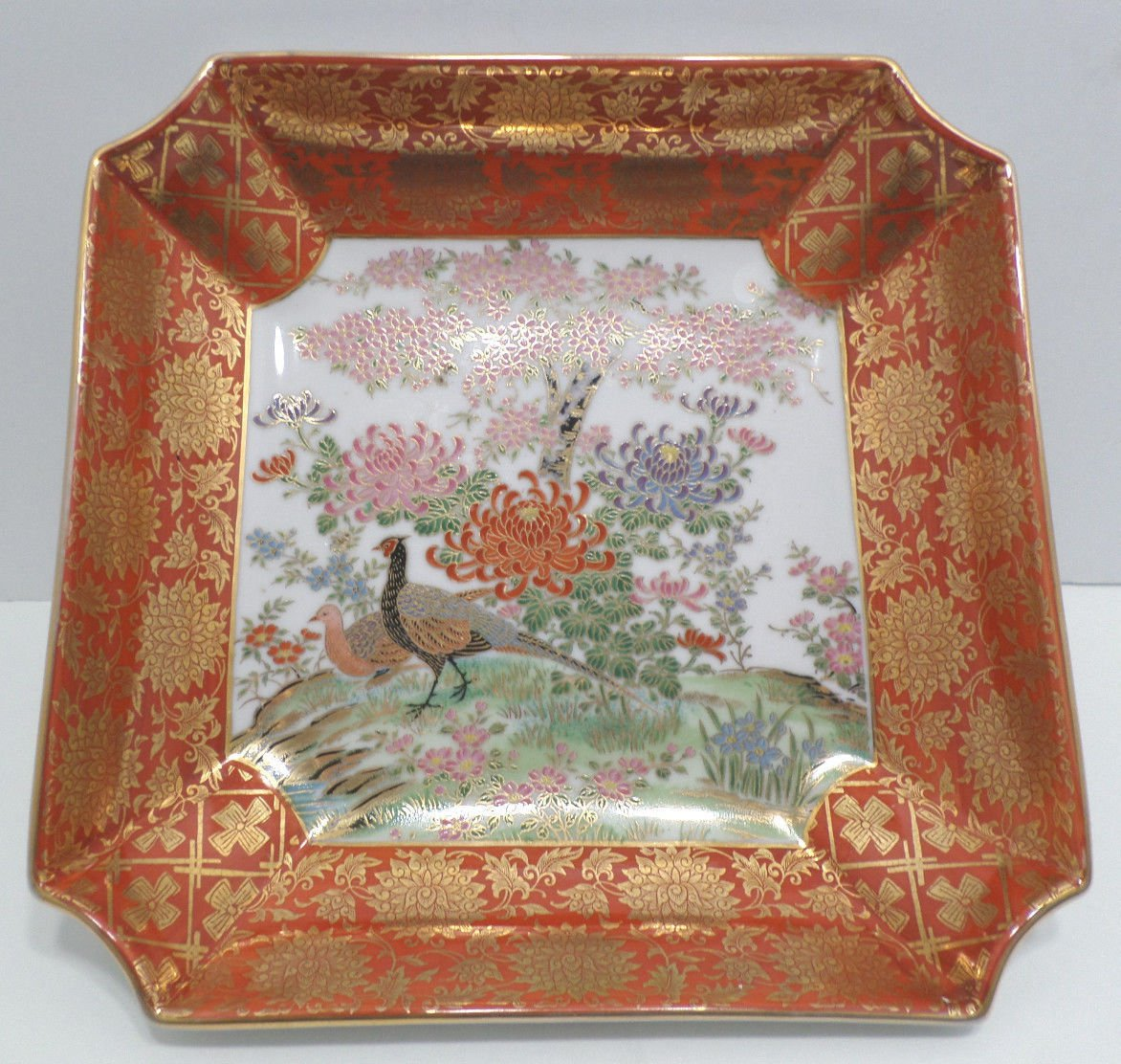Asian Oriental Bowl Porcelain with Peacock Pattern Vintage Orange and Gold
