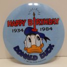 1984 Walt Disney Production Happy Birthday Donald Duck Metal Pinback Button Pin